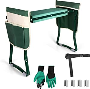 LBLA Garden Kneeler Seat Foldable Stool Bench with Gloves 2 Tool Pouches Belt EVA Foam Pad Protects Your Knees and Waist Sturdy and Lightweight