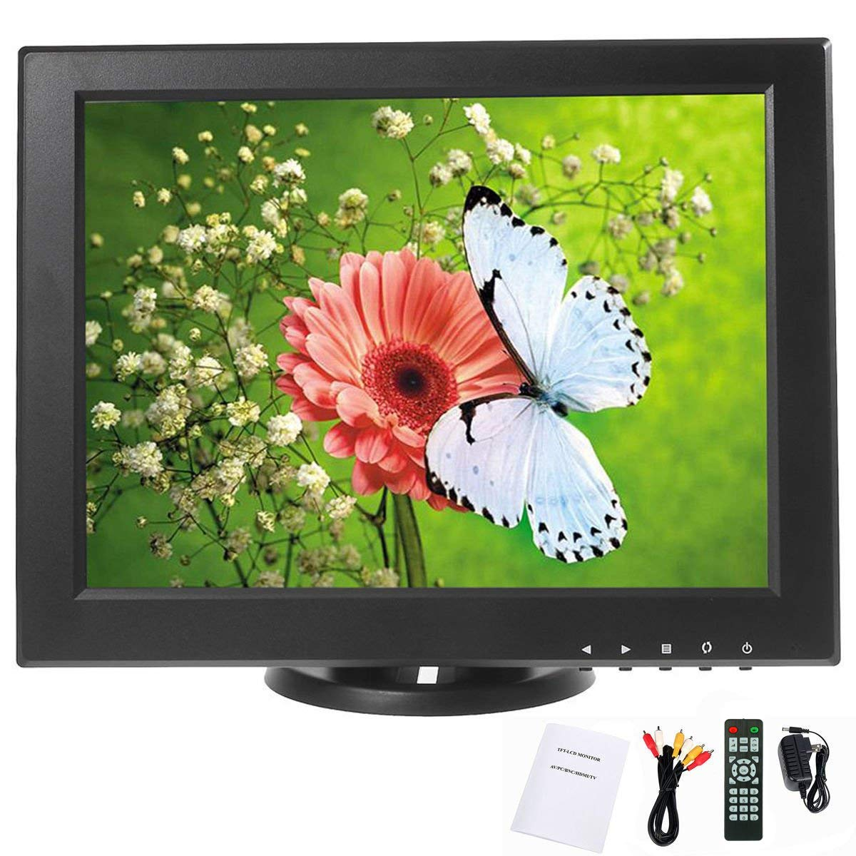 YaeCCC 12 inch LCD Monitor VGA/AV/HDMI/TV Input Display Security Camera 800 x 600 Computer Screen Compatible for CCTV