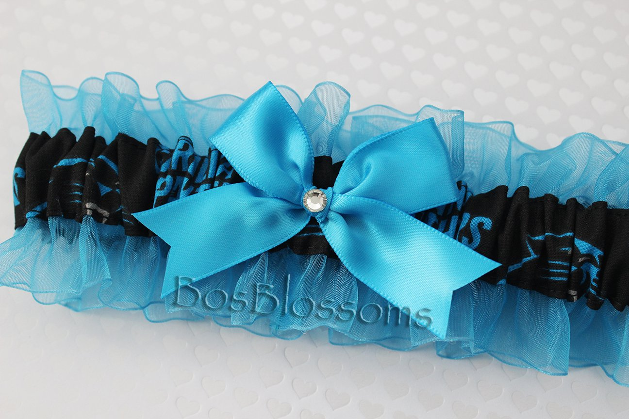 Customizable - Carolina Panthers fabric handmade into bridal prom turquoise organza wedding keepsake garter with big bow wks