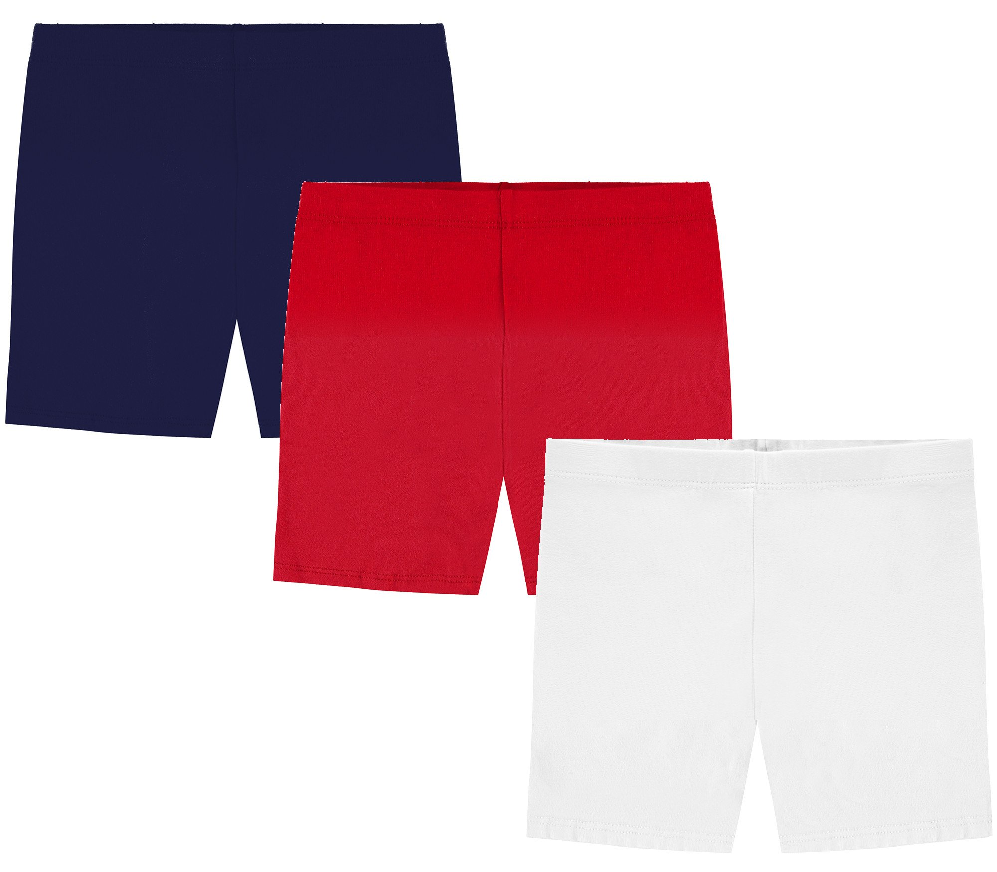My Way Girls' Value Pack Solid Cotton Bike Shorts - Navy, Red, and White - 8