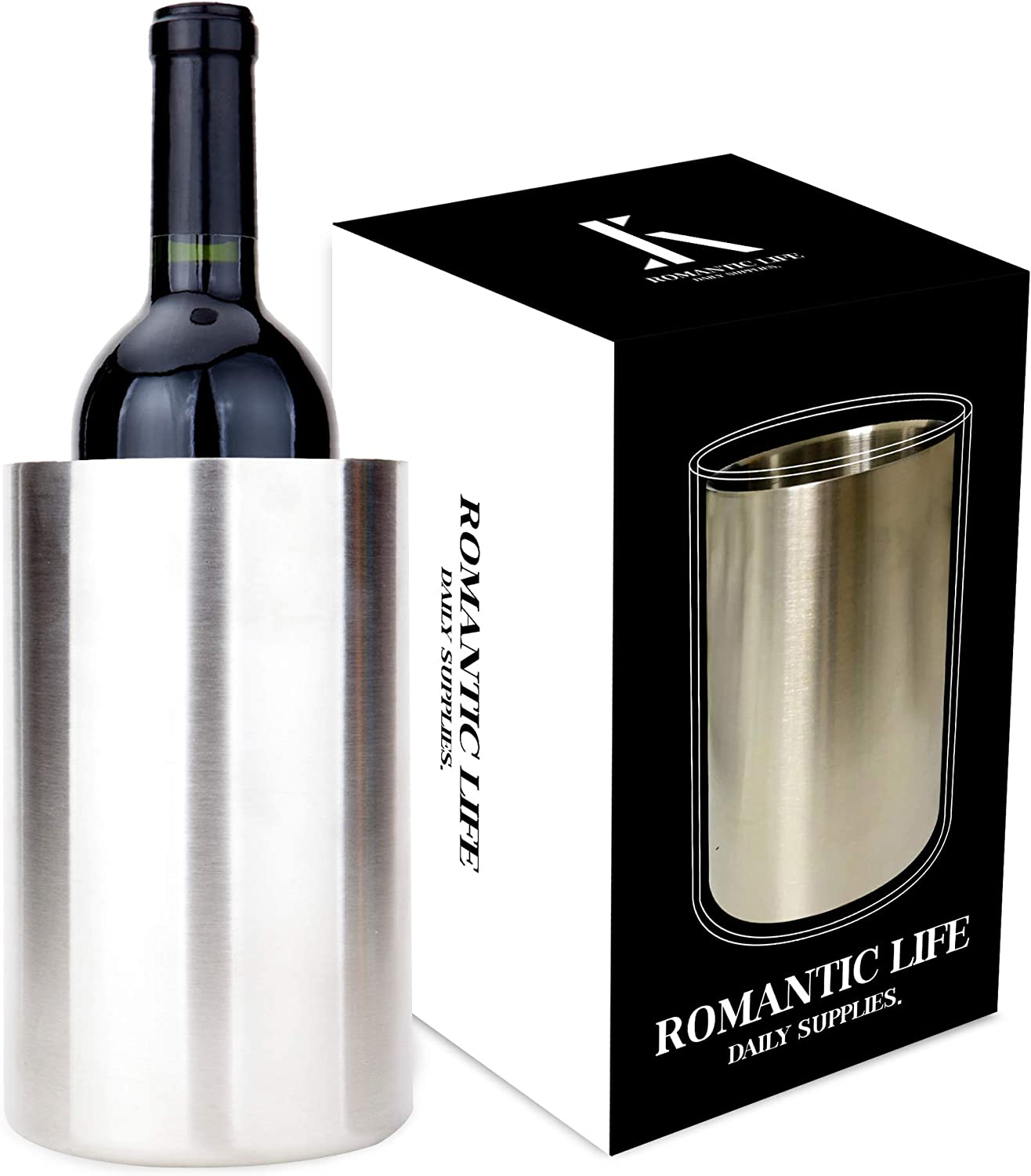 Romantic Life Wine Chiller Bucket Insulating Wine Cooler Bucket Ice Wine Temperature Keeper 750ml Wine Bottle Champagne Bottle Stainless Steel Wine Champagne Bucket For Parties Amazon Co Uk Kitchen Home