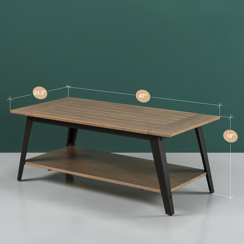 Amazon com zinus woodrow wood and metal coffee table kitchen dining
