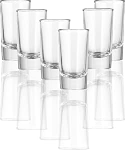 Circleware (6 Pack) Tall Shot Glasses Set of 6 Blue Velvet 1.2 Ounce Party Glassware Drinking Shot Glasses With Heavy Base