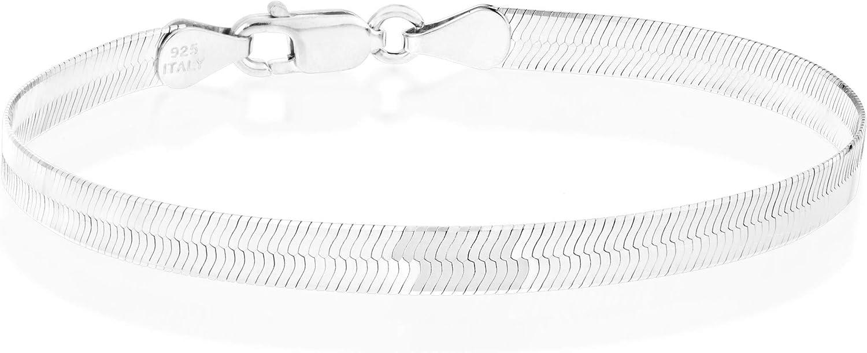 Miabella 925 Sterling Silver Italian Solid 4.5mm Flexible Flat Herringbone Link Chain Bracelet for Women Men 6.5, 7, 7.5, 8 Inch Made in Italy