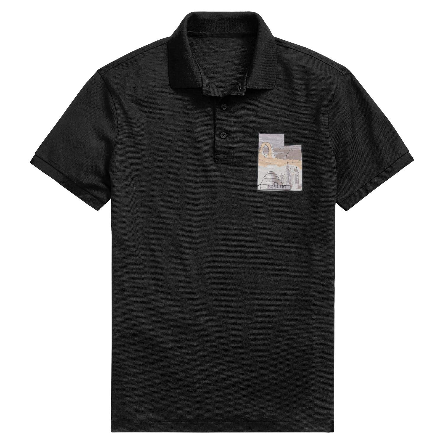 Godfer Arabe Utah Badge Short Sleeve Classic Polo T-Shirts for Men