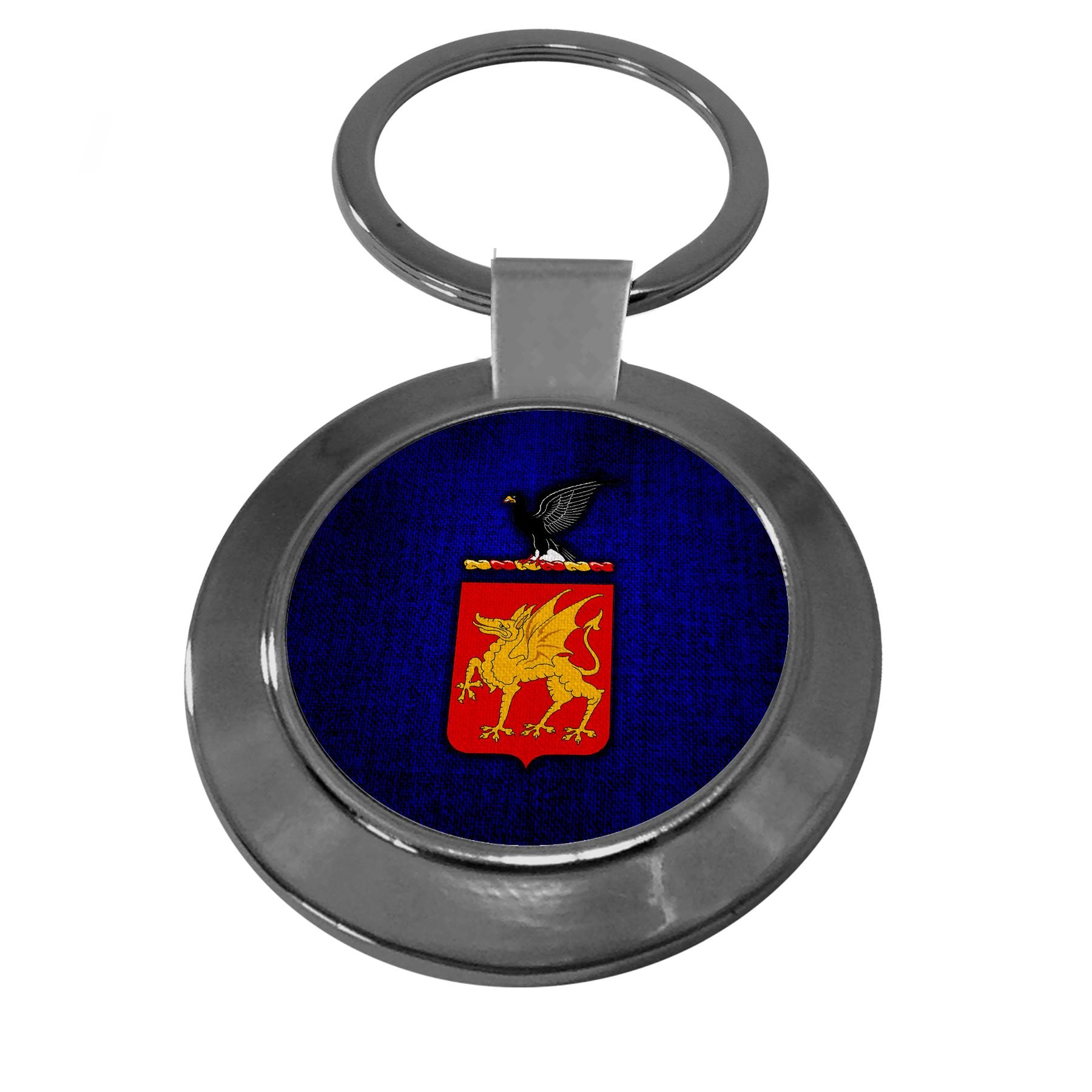 Premium Key Ring with U.S. Army 1st Cavalry Regiment, coat of arms