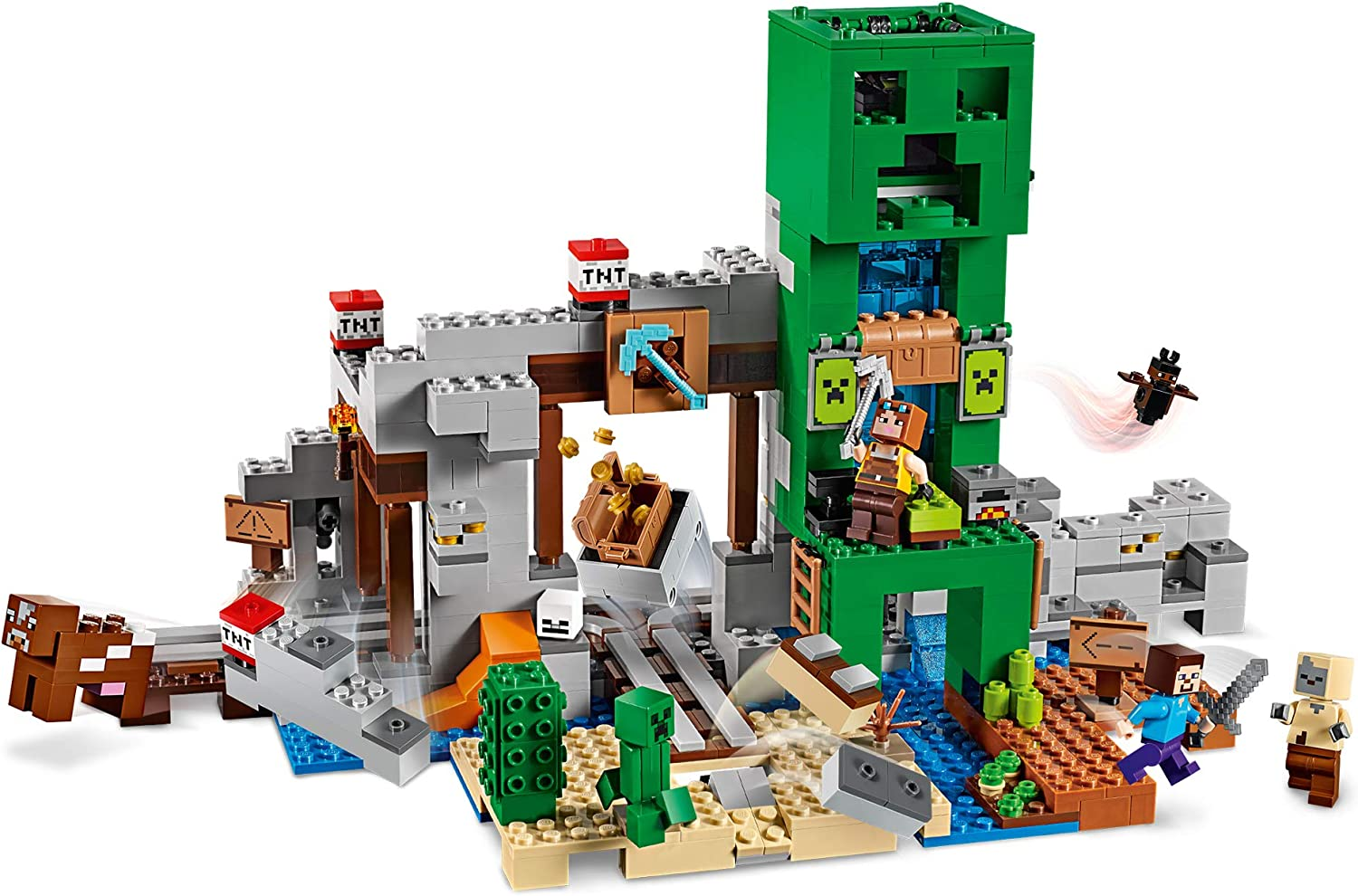 LEGO 21155 Minecraft Mine Steve Minifigure, Blacksmith, Husk, Creeper and Animal Figures plus TNT Elements the Nether Micro World Toys for Kids