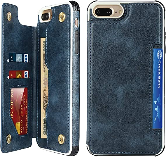 4 Card Slots PU Leather Flip Shockproof Cover for iPhone 6 Plus//6s Plus//7 Plus// 8 Plus Wallet Card Holder Case Cavor iPhone 6 Plus//6s Plus//7 Plus// 8 Plus Case with Lanyard Blue