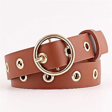 Availcx Cinturón de hebilla de metal redondo Cinturón de cuero Punk  femenino Cinturón Correa Cinturones Pantalones Vaqueros al por mayor   Amazon.es  Ropa y ... b0e6eda99f30