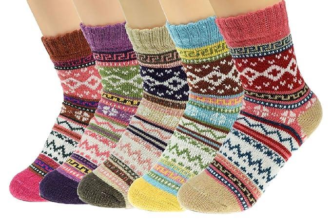 UMIPUBO 5 Pares Calcetines de Invierno Térmicos Calcetines de Invierno de Lana Mujer Gruesa Suave Calcetines