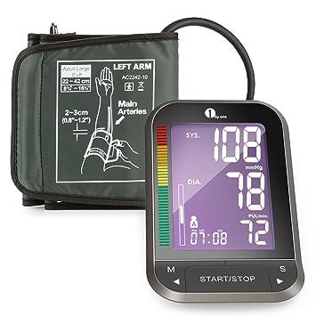 1byone Tensiómetro de brazo, con LCD retroiluminado,medidor de presión arterial de brazo,Certificado CE ROHS FDA
