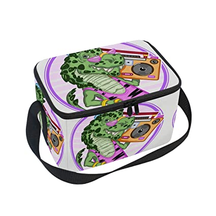 e0be612b928d Amazon.com: Cute Dinosaur Music Insulated Lunch Box Bag Tote with ...