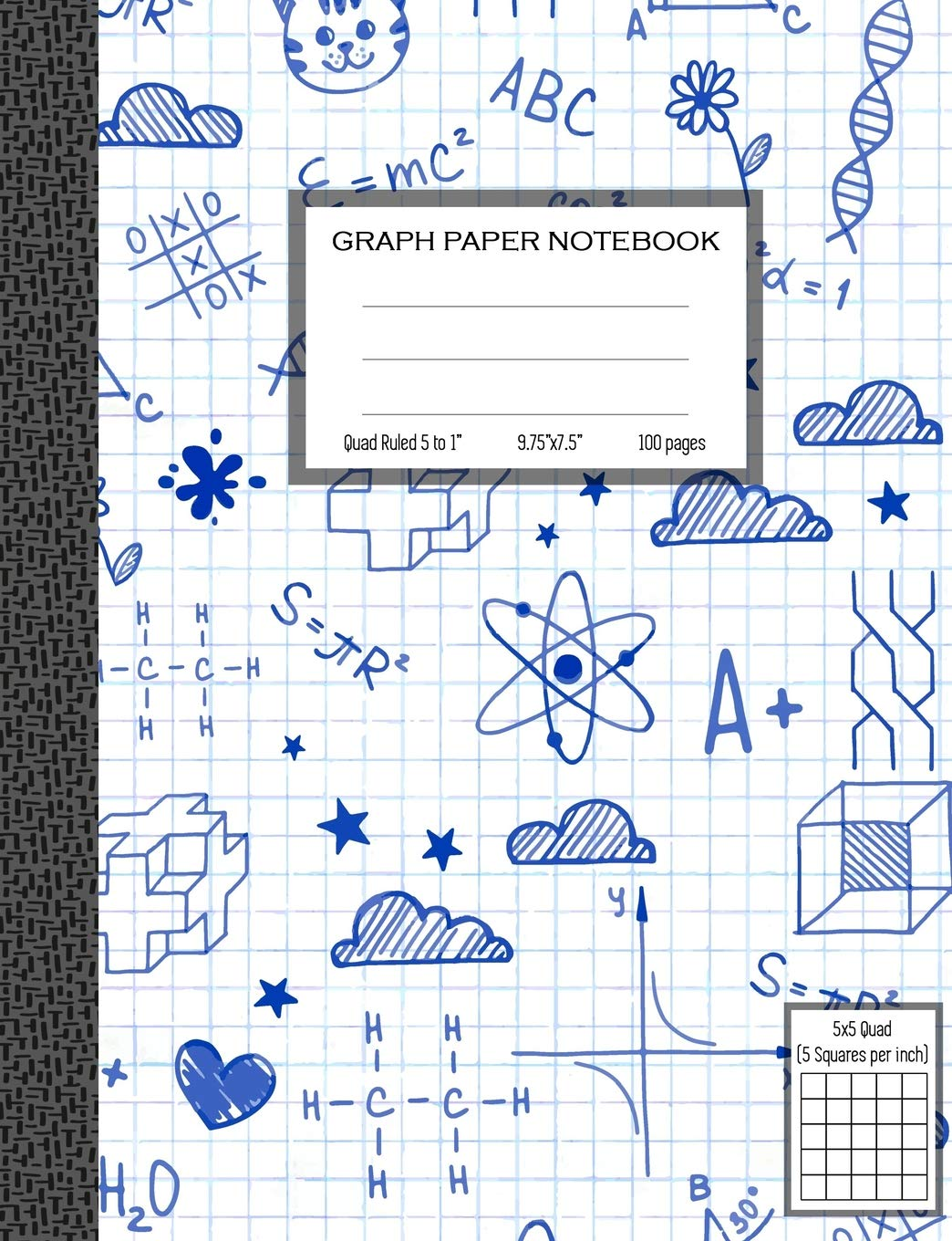 graph paper notebook quad ruled 5 squares per inch math and