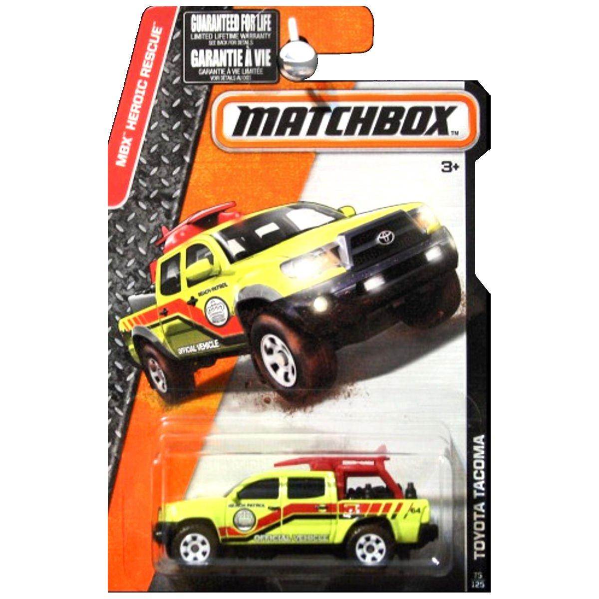 Matchbox 2016 MBX Heroic Rescue Toyota Tacoma Lifeguard Truck Beach Rescue Yellow Mattel