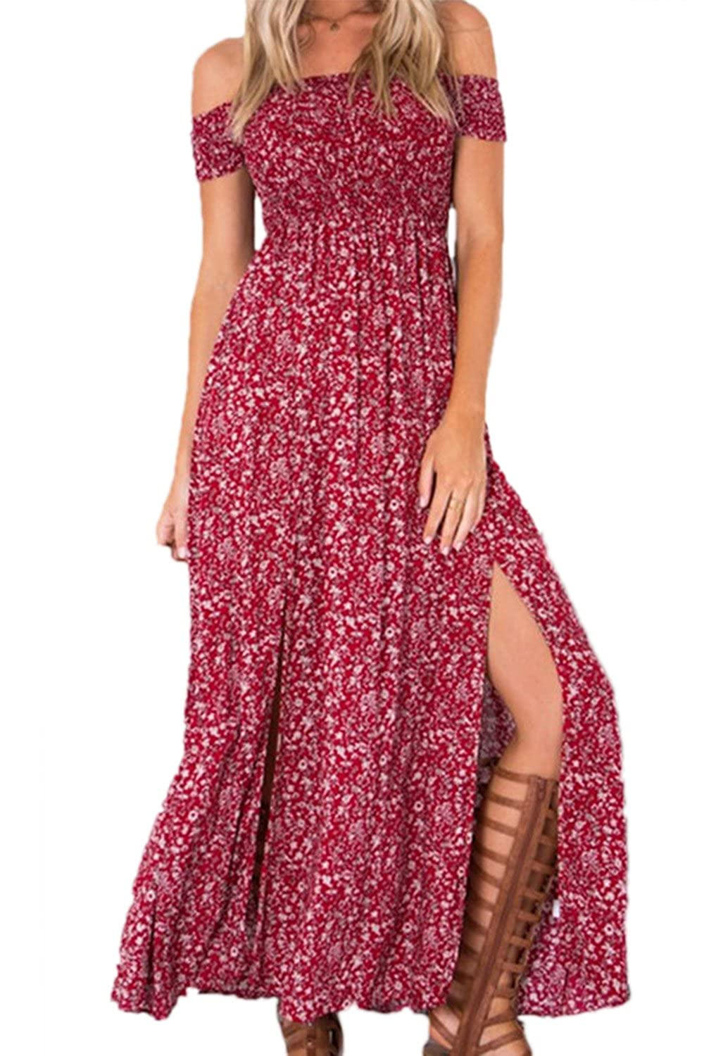 Women's Off The Shoulder Slit Floral Print Beach Bohemian Dresses Maxi Dresses CABXMY033
