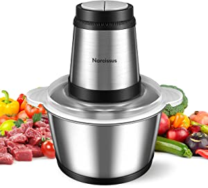 Narcissus Electric Meat Grinder, 400W Professional Food Processor Chopper for Meat Vegetable, 8-Cup 2L Capacity Stainless Steel Bowl, Super Power for Quick Chopping and Mixing, 4 Sharp Blades