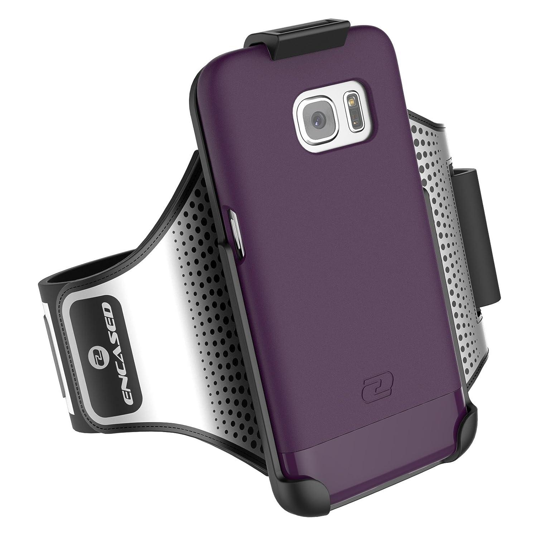 Galaxy S7 Edge Armband Sport Case 2 pc set includes Encased Click-N-Go Arm Band Hybrid Cover Royal Purple