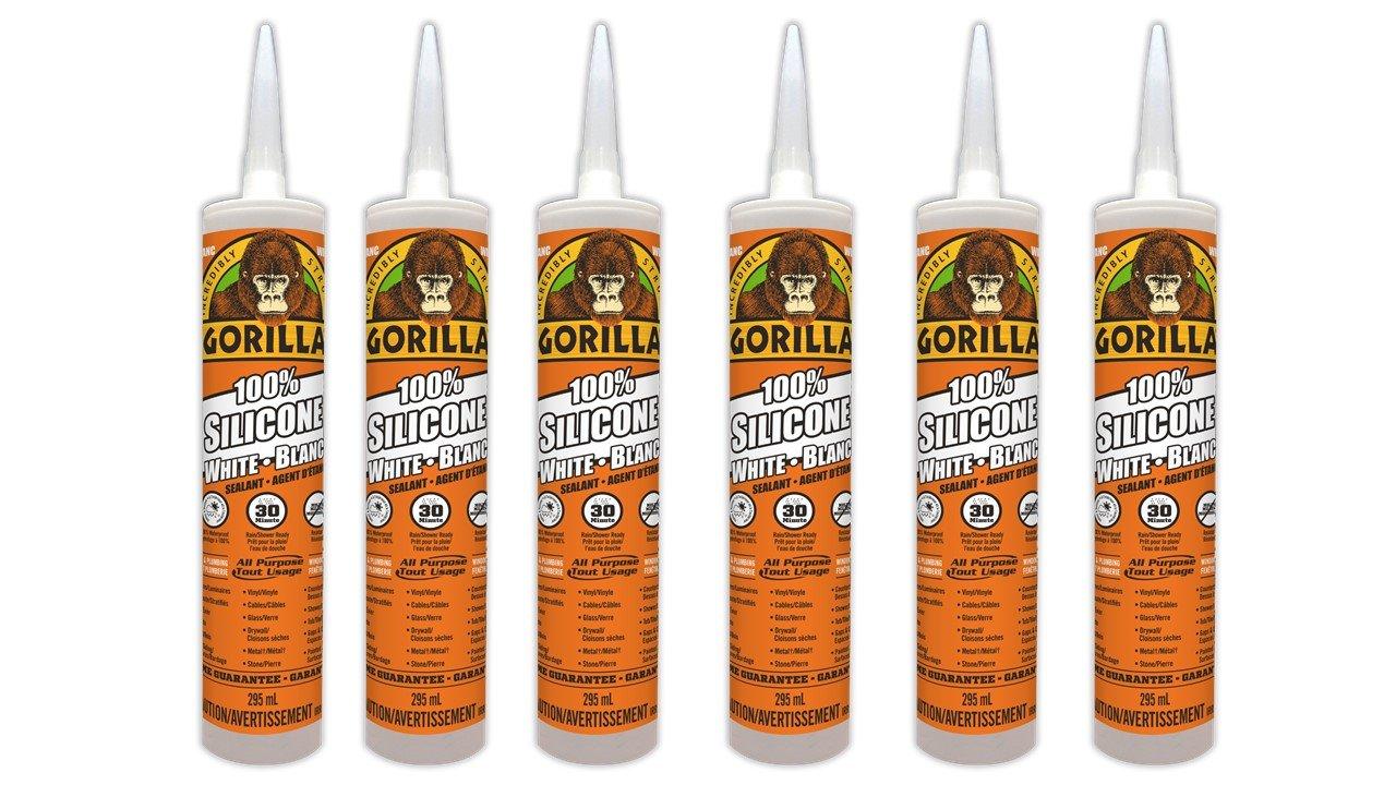 Gorilla 8070001 Paintable Silicone Sealant, 6 Pack, White, 6 Cartridge