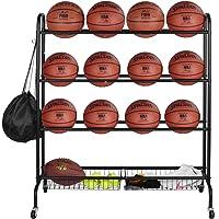 EXTCCT Basketball Rack, Rolling Sports Ball Storage Cart, Four-Layer Organizer Stand for Basketballs Footballs…