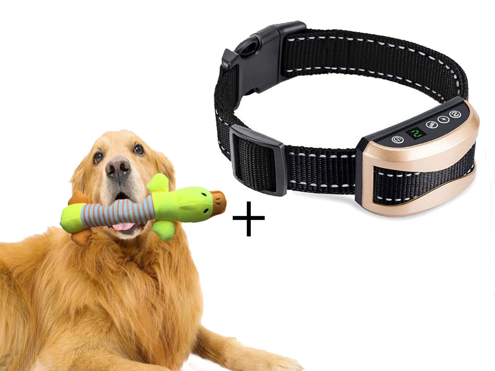 No Bark Collar for Small Medium Large Dog,Dog Training Collar Rechargeable and Rainproof,Bark Collar with Beep,Vibration and Shock Electronic Collar 7 Levels Sensitivity with Duck Dog Squeak Toys