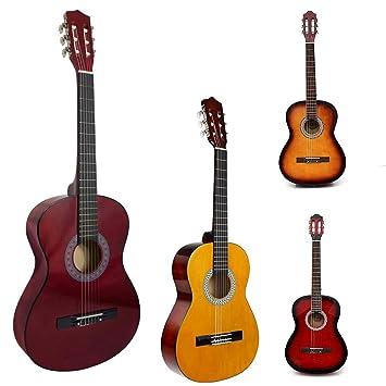 Guitarra acústica de tamaño completo natural de 99 cm, 4/4, para adultos, guitarra acústica de nailon, Beige with Red: Amazon.es: Instrumentos musicales