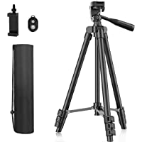 """Phone Tripod, 51"""" Extendable Travel Lightweight Tripod Stand with Carrying Bag, Universal Tripod with Bluetooth Remote…"""