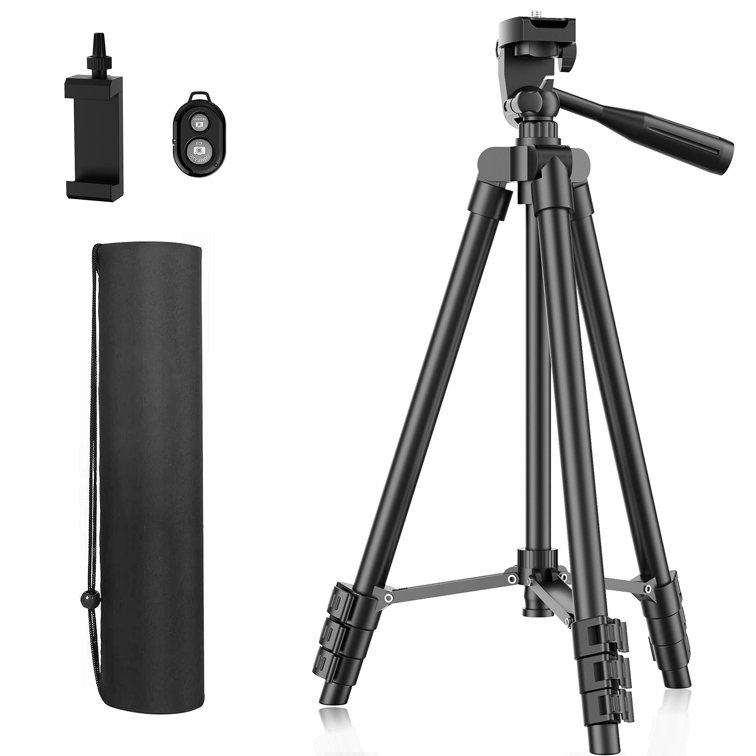 "Phone Tripod, 51"" Extendable Travel Lightweight Tripod Stand with Carrying Bag, Universal Tripod with Bluetooth Remote, Cell Phone Mount for Phone Xs/Xs Max/Xr/X/8/8 Plus/Samsung/Huawei Phone,Camera"