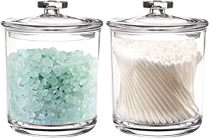 Youngever 2 Pack 15 Ounce Clear Plastic Apothecary Jars