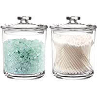 Youngever 2 Pack 15 Ounce Premium Quality Clear Plastic Apothecary Jars, Qtip Dispenser Apothecary Jars, FDA Approved
