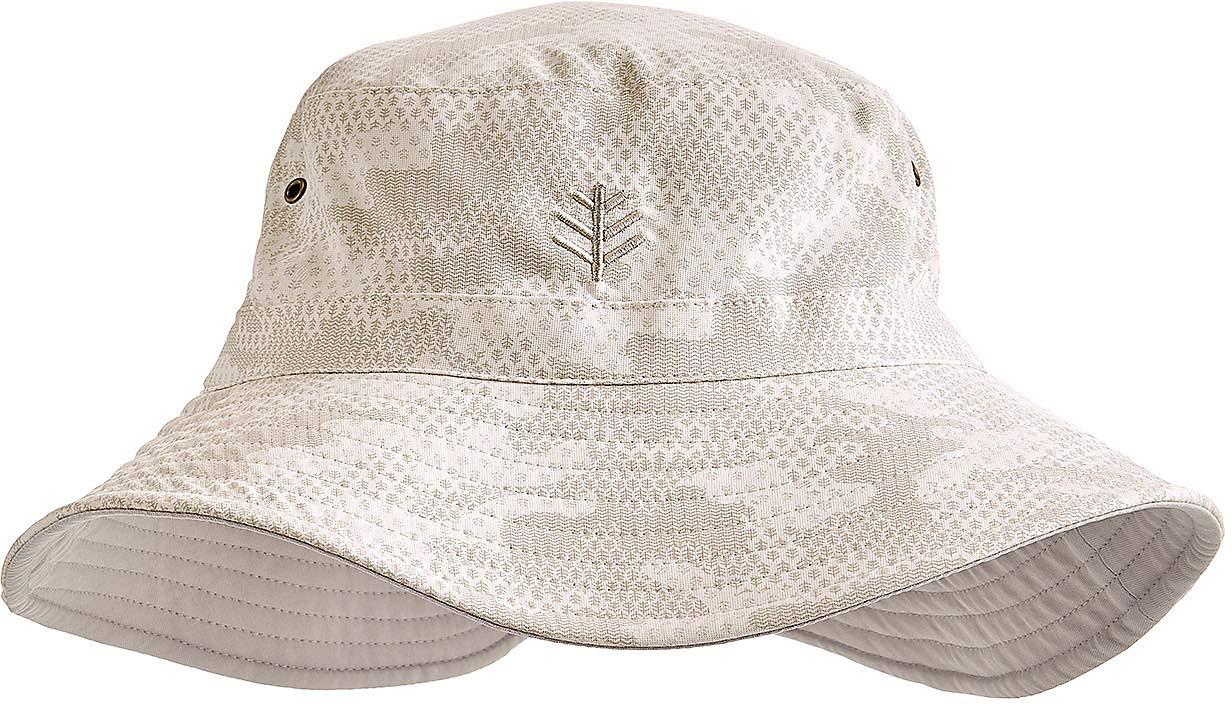 Coolibar UPF 50+ Men's Women's Reversible Bucket Hat - Sun Protective (Large/X-Large- Highland Taupe Coolibar Camo)