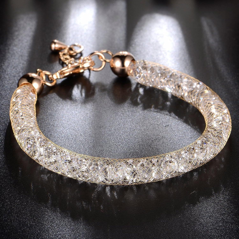 Amazon.com: Mytys 18k Rose Gold Mesh Crystal Charm Bracelet Cubic ...