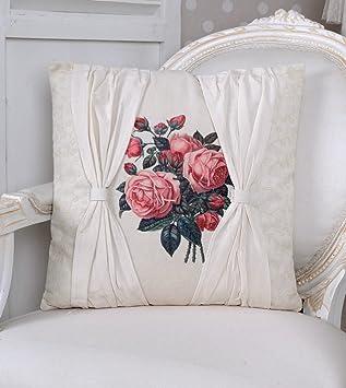 Zierkissen Jardin des Roses Kissen Shabby Chic Dekokissen Weiss ...