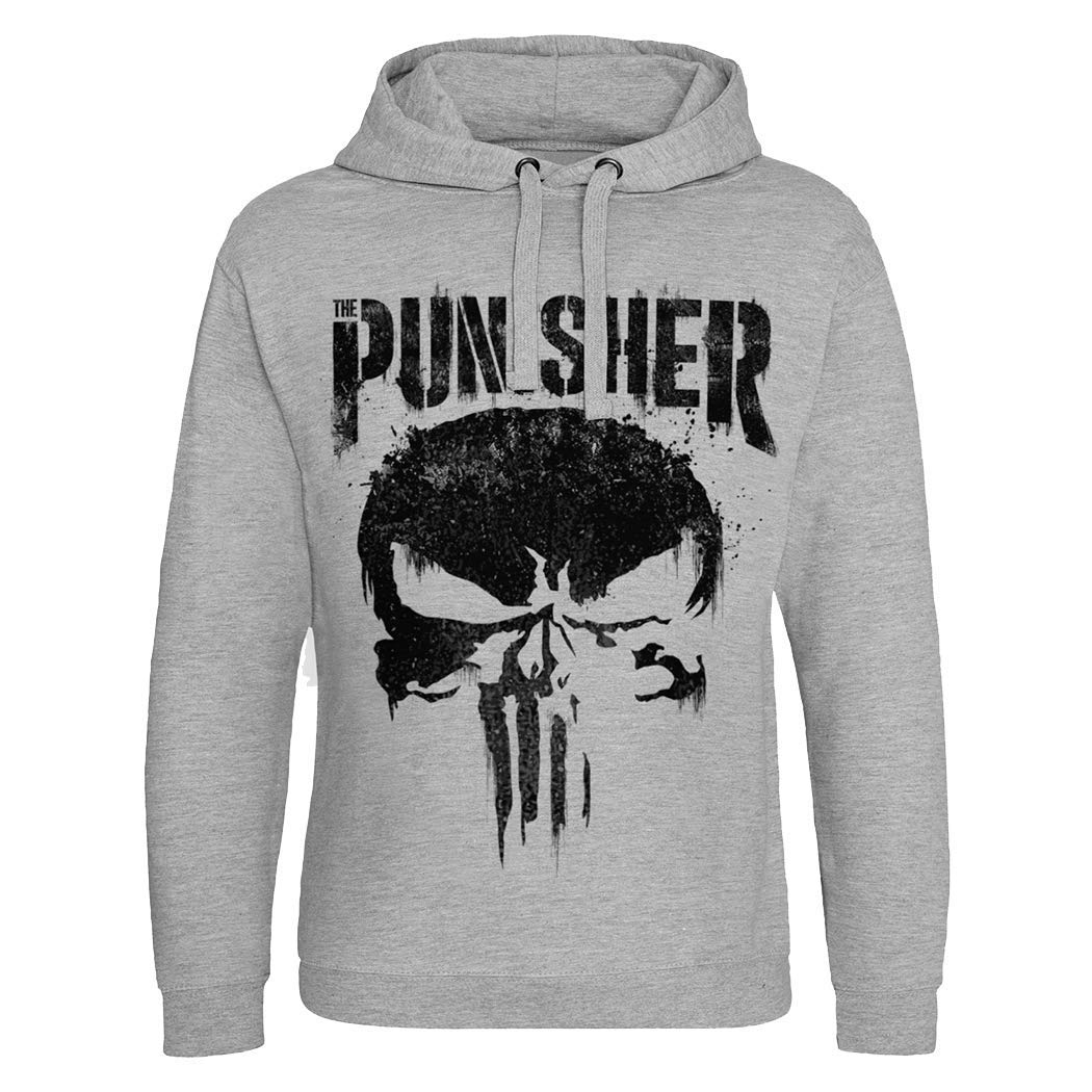 TALLA L. Marvel Sudadera con Capucha Epic para Hombre con Licencia The Punisher Heather Grey
