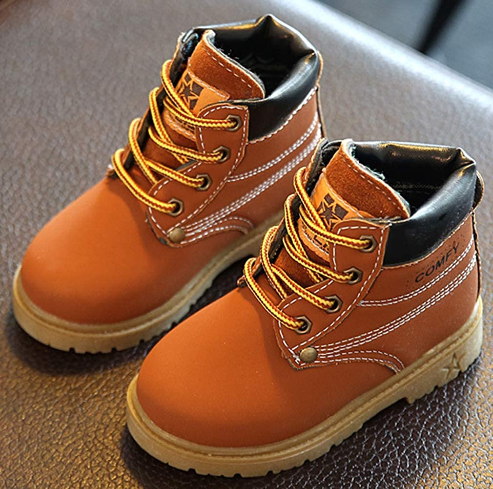 Toddler VECJUNIA Boys Girls PU Waterproof Lace up Ankle Boots Snow Shoes