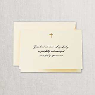 product image for Crane & Co. Hand Engraved Gold Cross Sympathy Acknowledgement Note- Pack of 20 Cards