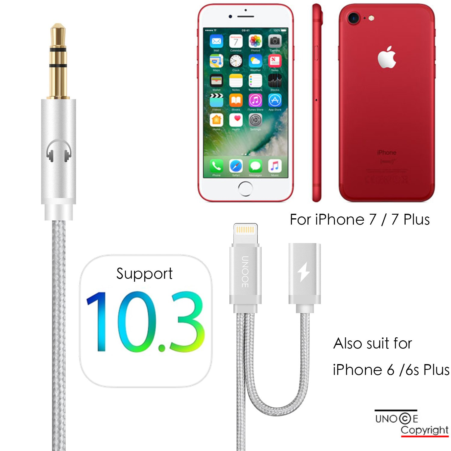 unooe iphone 8 7 aux cord and charger adapter for car. Black Bedroom Furniture Sets. Home Design Ideas