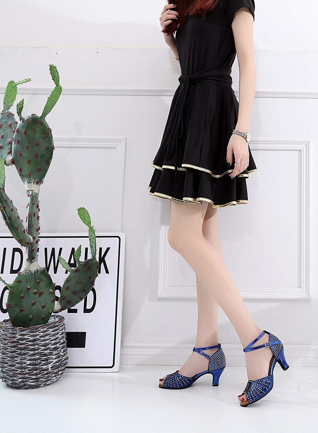 Qiusa Ladies Ladies Ladies Cut-Out Funkelnde niedrige Ferse blau synthetische Tanzsandalen UK 4.5 (Farbe   Blau-4  Heel Größe   -) 48e27c