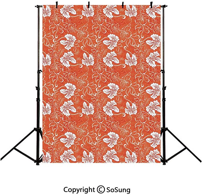 8x12 FT Vinyl Photography Backdrop,Tropic Pattern with Parrot Orchids and Hibiscus Flowers Hawaiian Jungle Style Image Background for Child Baby Shower Photo Studio Prop Photobooth Photoshoot