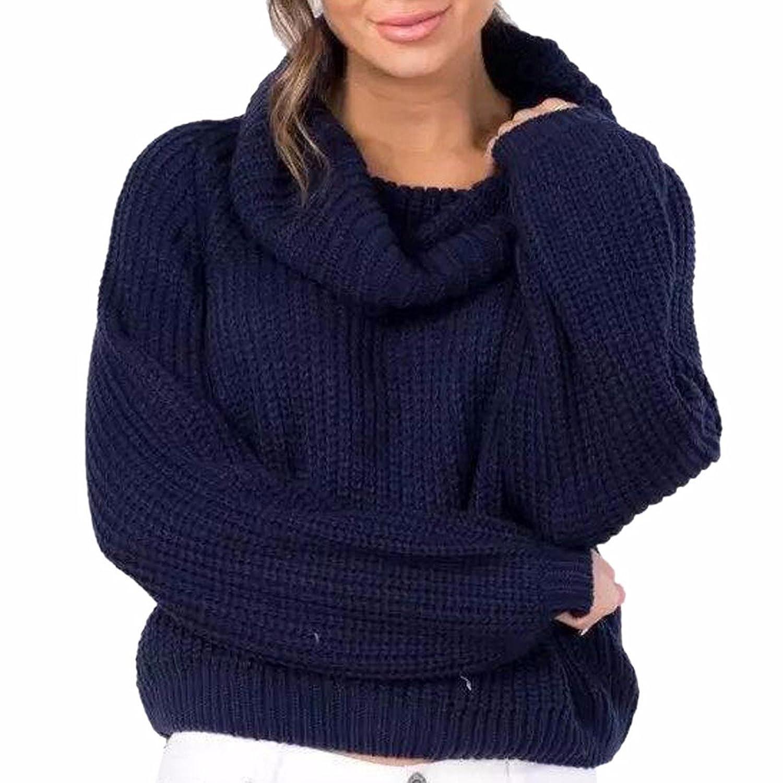 QIYUN.Z Women Cowl Neck Loose Short Pullover Knit Sweater