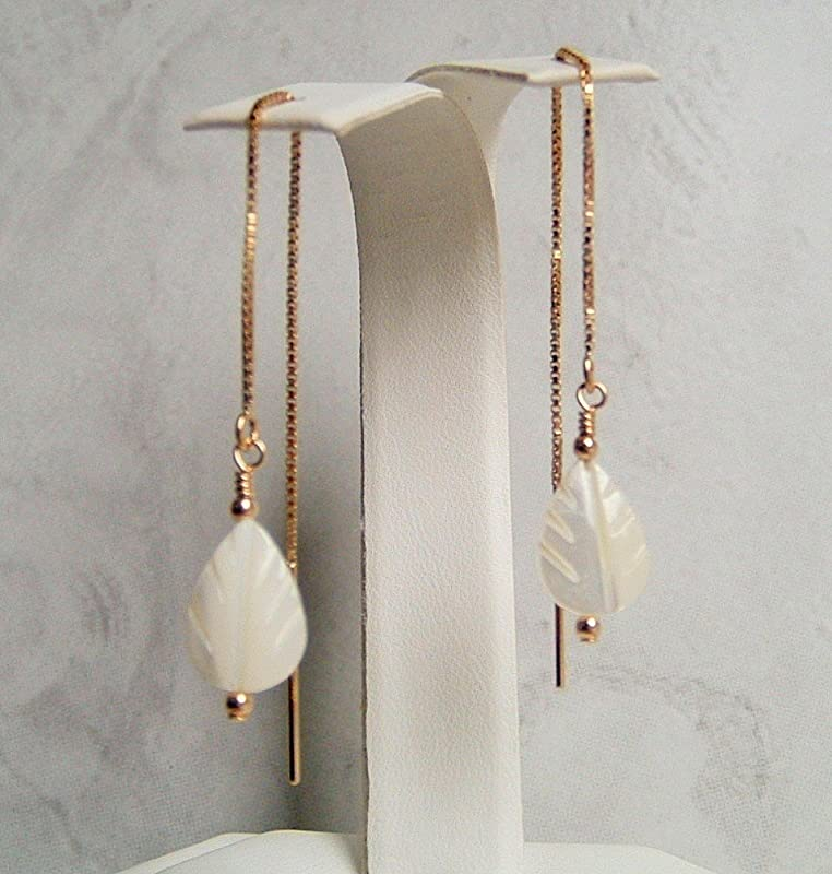 Gold Filled Mother of pearl Heart Dangle 24 K Gold Filled Earrings White Shell Heart Shaped Teeny Tiny Mother of Pearl Heart Earrings