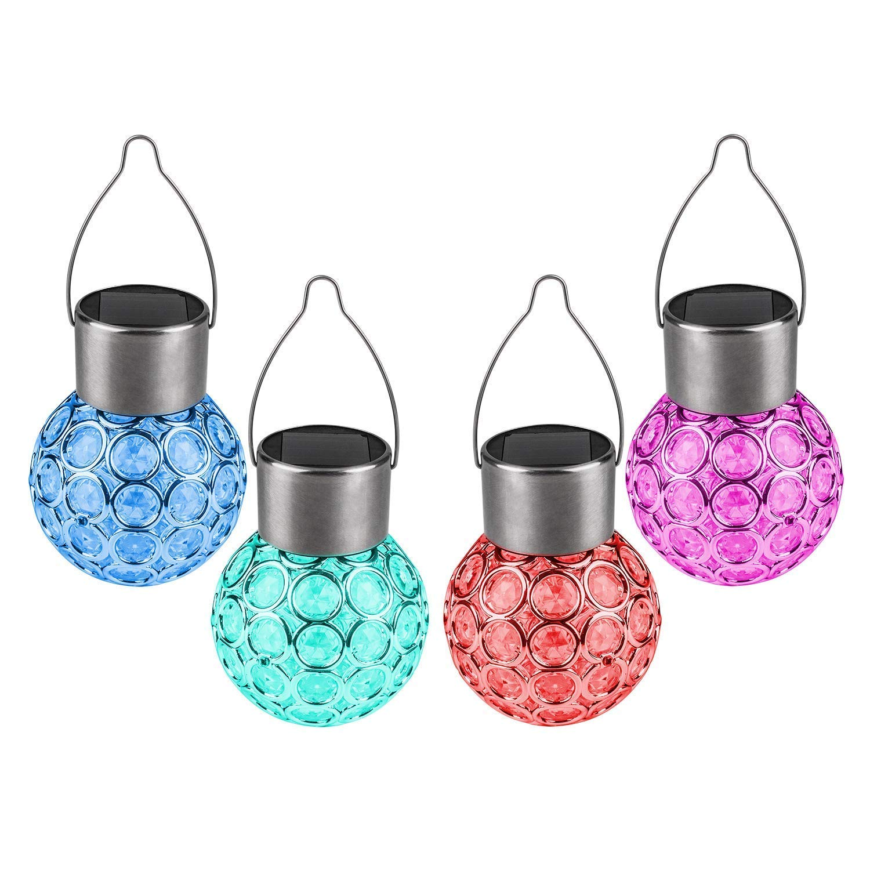 4 Pack LED Solar Hanging Lights Outdoor,Solar LED Ball Lantern Landscape Lighting for Garden Patio Yard Window Decor