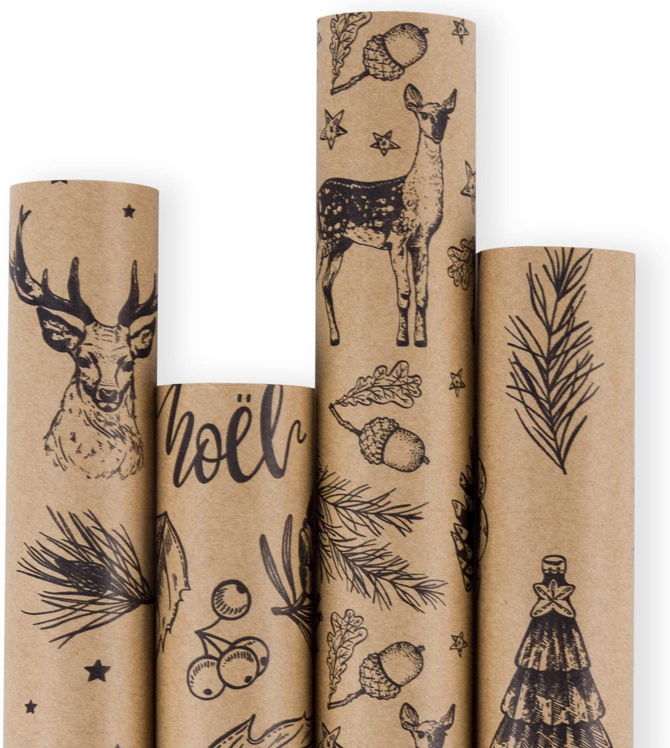 RUSPEPA Christmas Wrapping Paper - Brown Kraft Paper with Black Christmas Elements Print Paper - 4 Roll-30Inch X 10Feet Per Roll