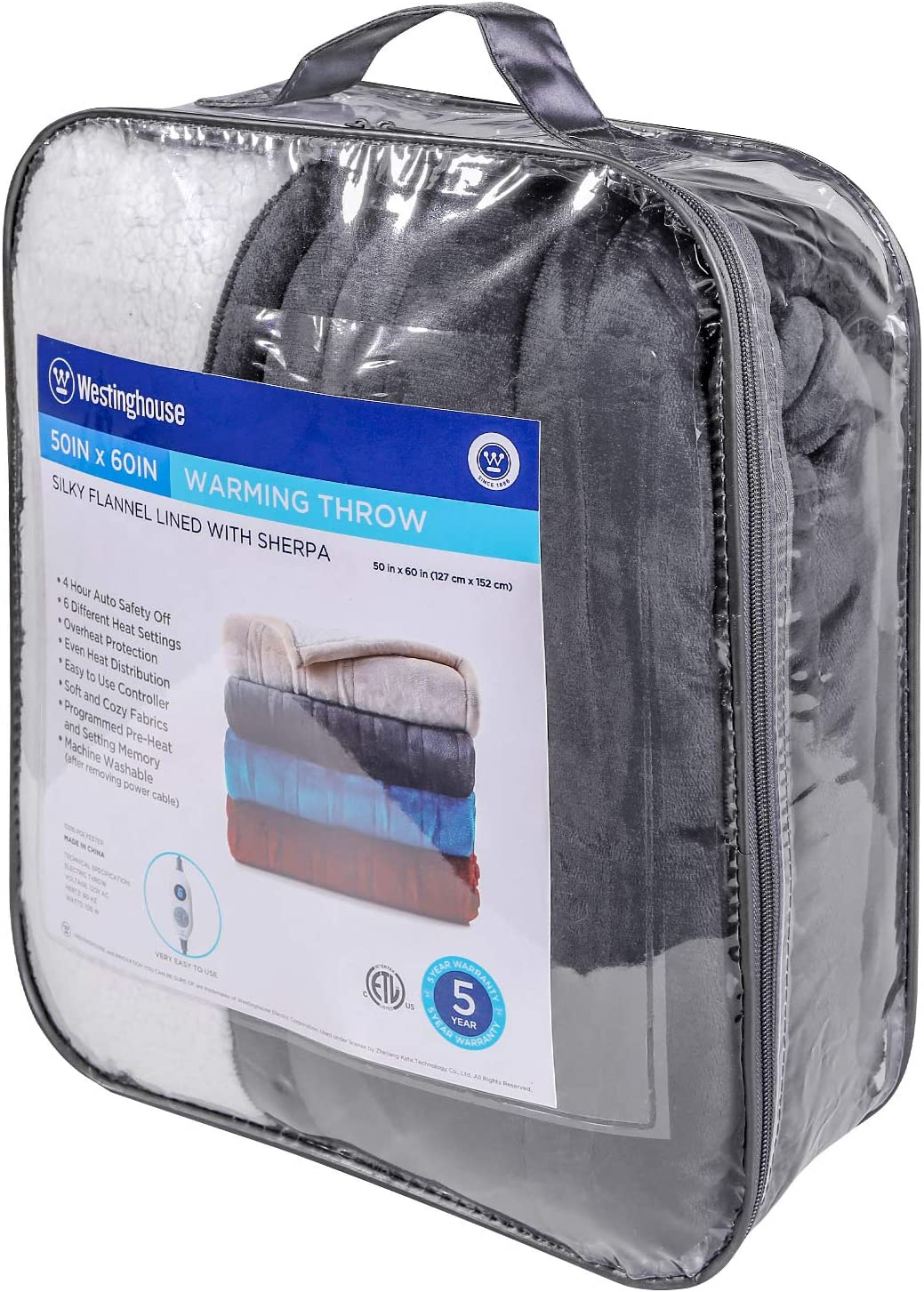 6 Heat Settings /& 4 Hours Auto Off Machine Washable Charcoal Grey 50x60in Westinghouse Electric Blanket Heated Throw Flannel to Sherpa Reversible Heating Blanket 50x60