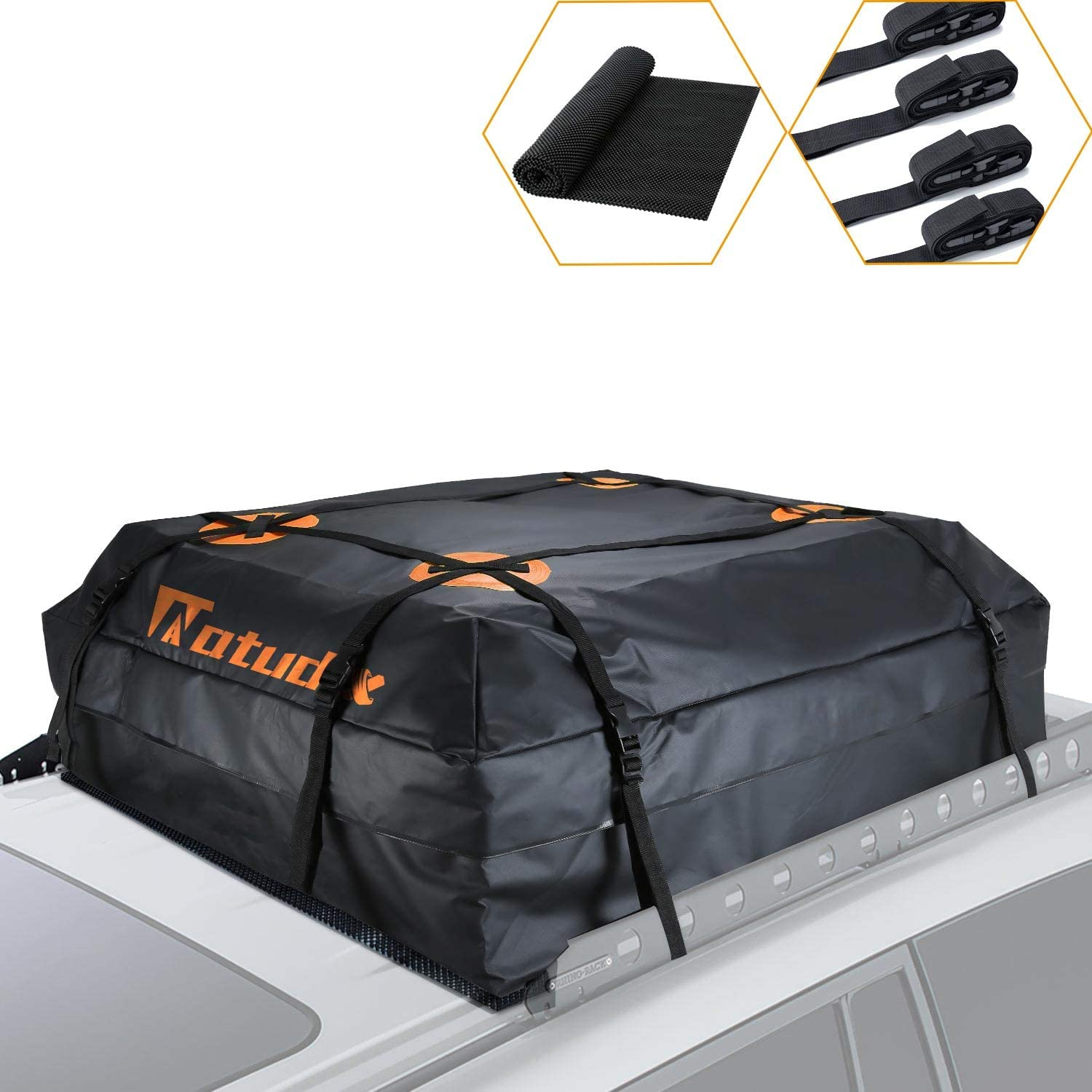 15 Cubic Feet Soft Car Roof Bag with 2 Heavy Duty Adjustable Straps Fits All Cars AUPERTO Rooftop Cargo Carrier Bag