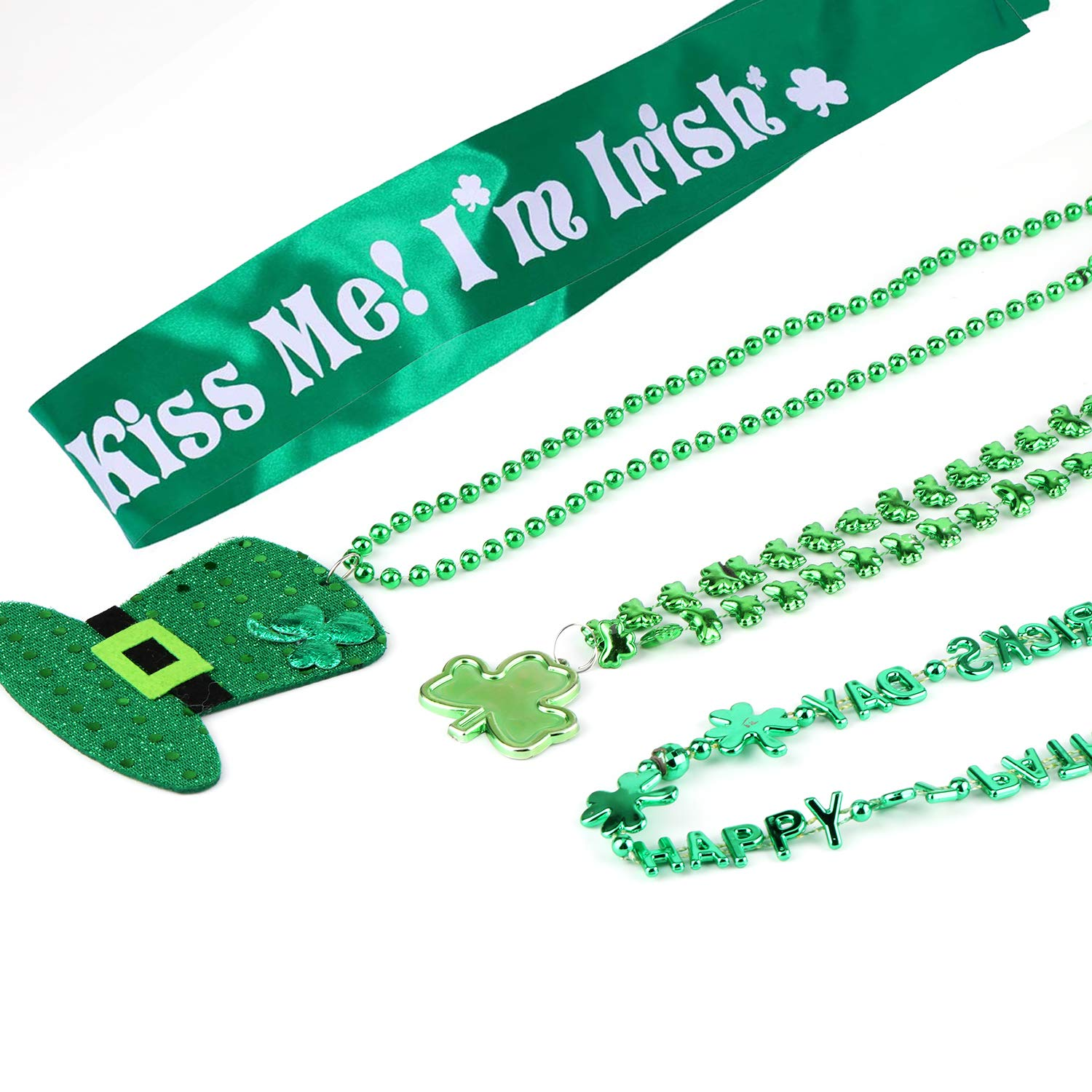 Clover Green Pendant Necklace Party Supplies 12 Pack Tobeape St Holiday Parades Irish Themed Patricks Day Accessories Shamrock Necklace Irish Hat Green Bead Necklace and Shoulder Strap