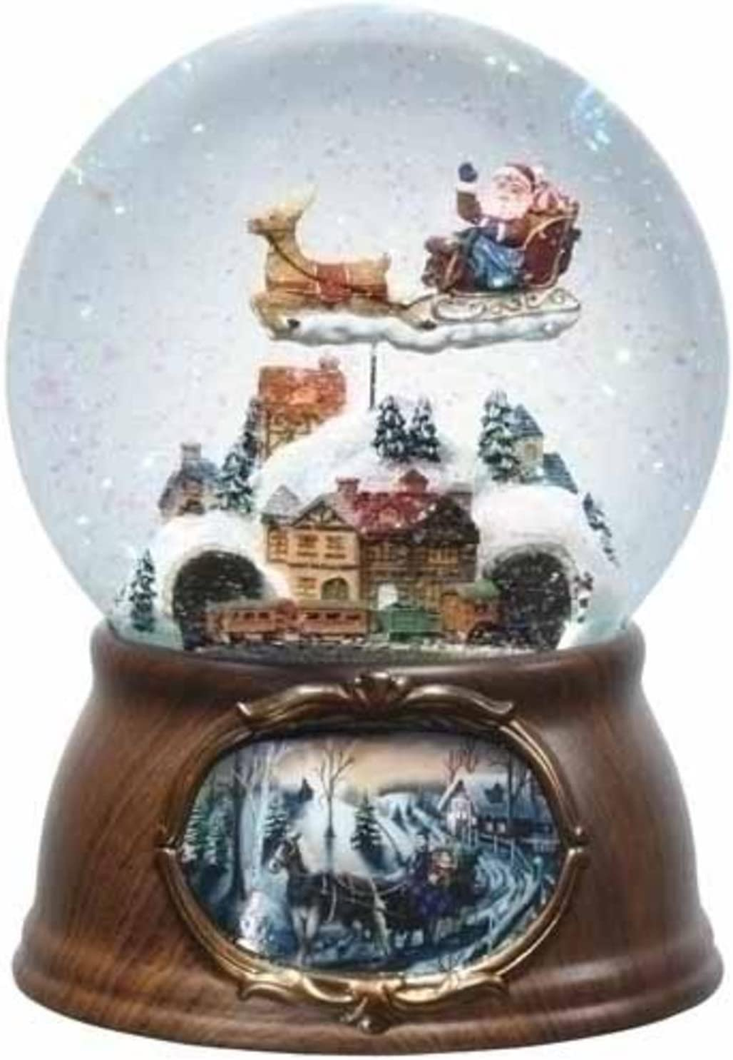 "B004K1N7VE 6.5"" Musical Rotating Santa Claus with Train Christmas Snow Globe Glitterdome 71Hv7TDxyiL"