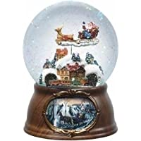 6.5″ Musical Rotating Santa Claus with Train Christmas Snow Globe Glitterdome