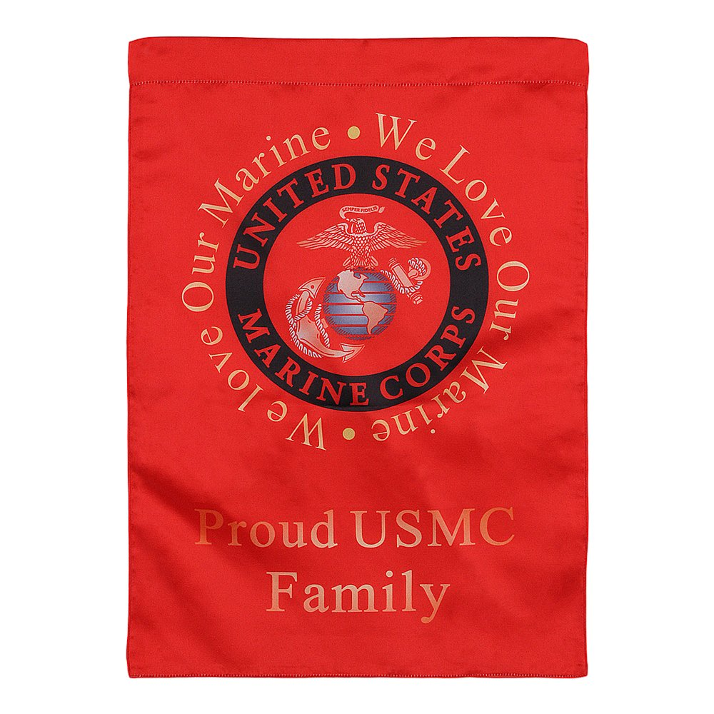 United States Marine Corps Decorative Vertical Garden Flag and Yard Banner - Double Sided Printed 13'' x 18.5'' - We Love Our Marine, Proud USMC Family