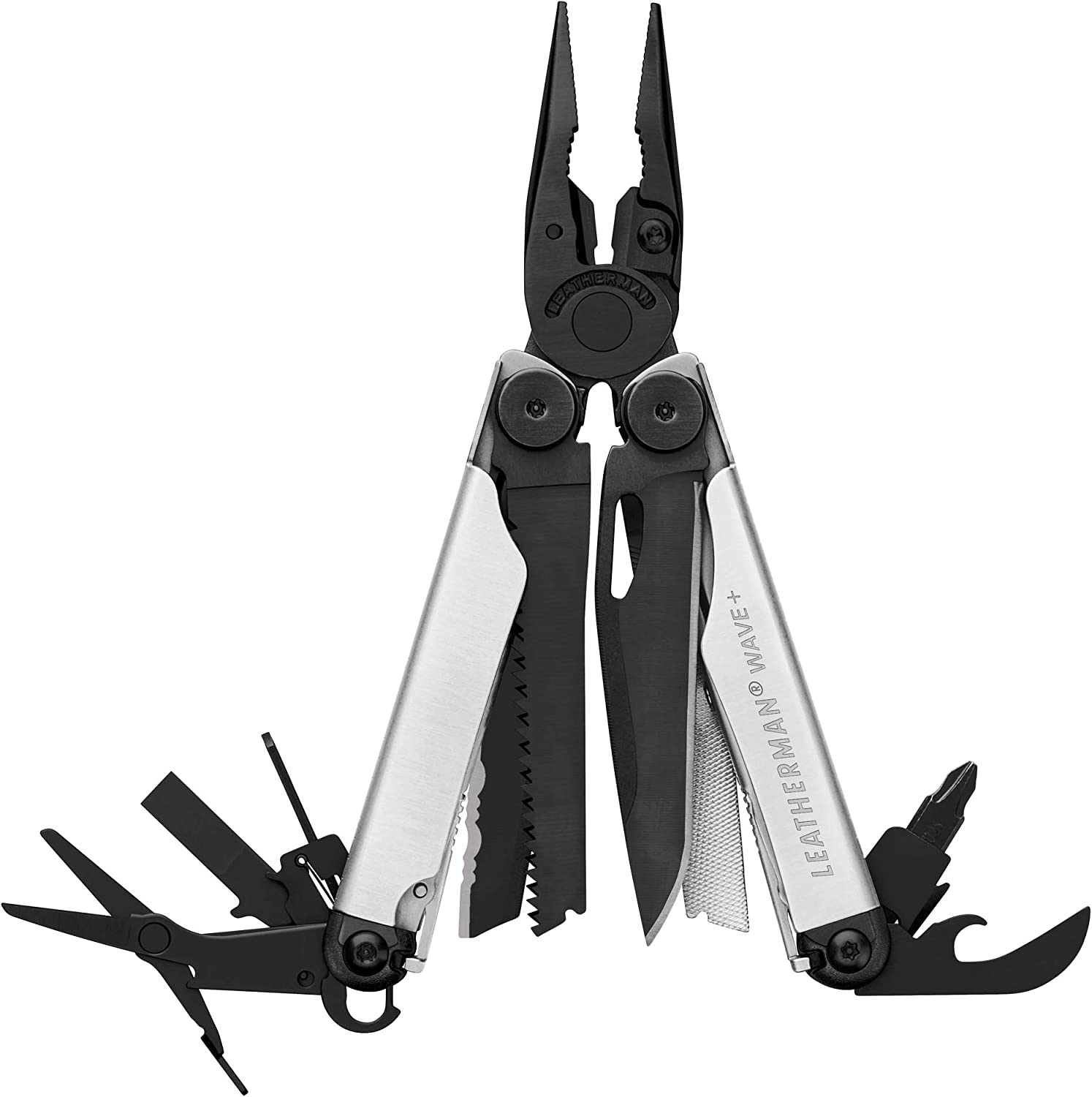 LEATHERMAN, Wave Plus Multitool with Premium Replaceable Wire Cutters and Spring-Action Scissors, Built in the USA, Limited Edition Black/Silver with Nylon Sheath