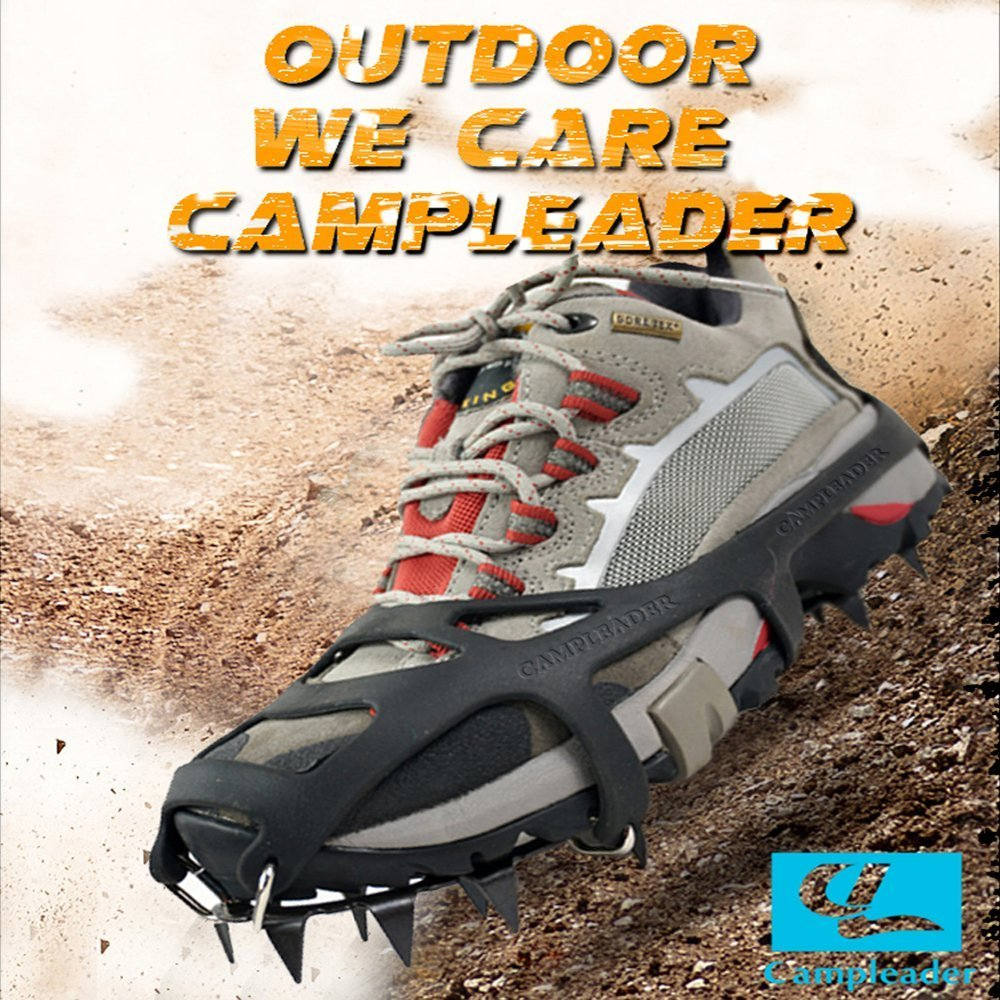 CAMPLEADER Crampon 2017 Spring Traction Cleats for Snow & Ice Safe Protect Shoes (Ergonomic Fifth Edition) (Ergonomic Crampon Fifth Edition 2015, Medium (US''6-9''/EU''36-40'')) by CAMPLEADER